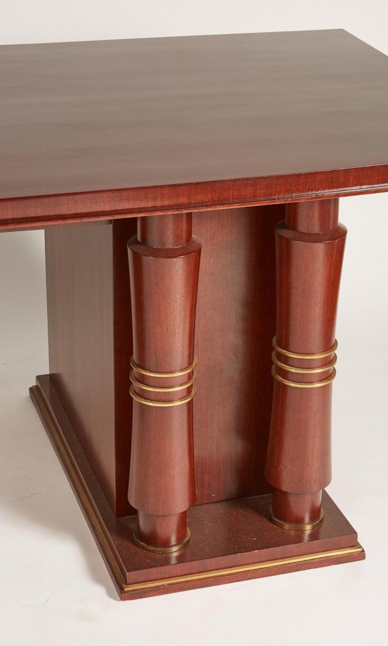 Jules Leleu Double Pedestal Mahogany Art Deco Desk with Gilt Bronze Details For Sale 1