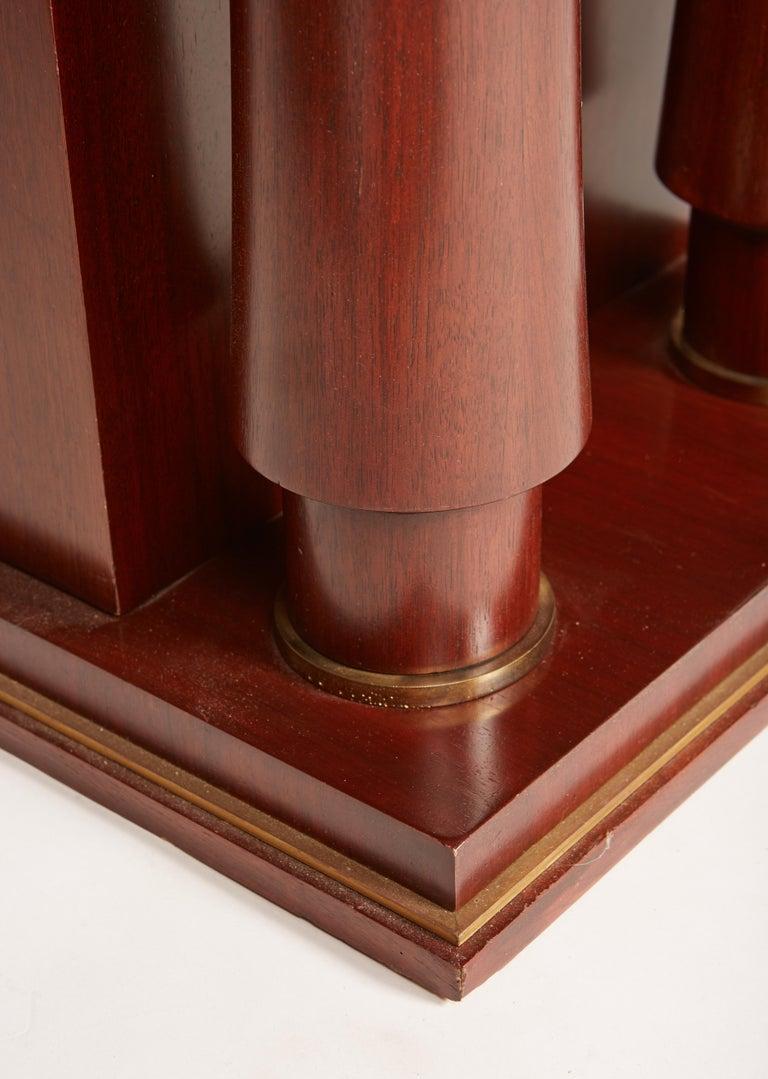 Jules Leleu Double Pedestal Mahogany Art Deco Desk with Gilt Bronze Details For Sale 2