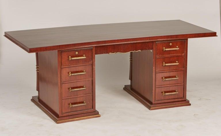 Jules Leleu Double Pedestal Mahogany Art Deco Desk with Gilt Bronze Details For Sale 3