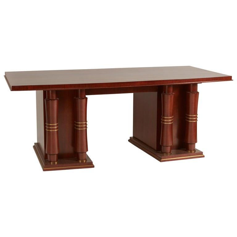 Jules Leleu Double Pedestal Mahogany Art Deco Desk with Gilt Bronze Details For Sale