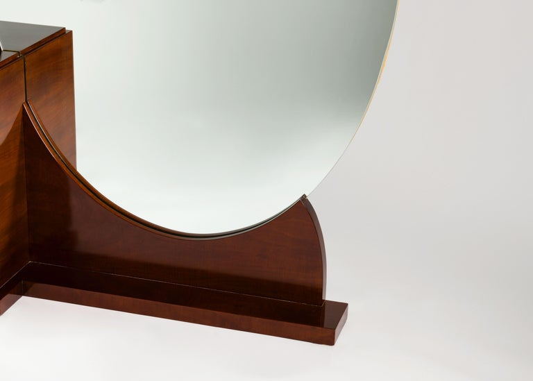 Plated Jules Leleu, Fine Art Deco Standing Mirror / Vanity, France, circa 1928 For Sale