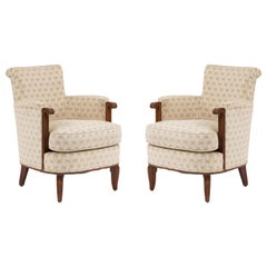 Jules Leleu French Art Deco Bergére Armchairs