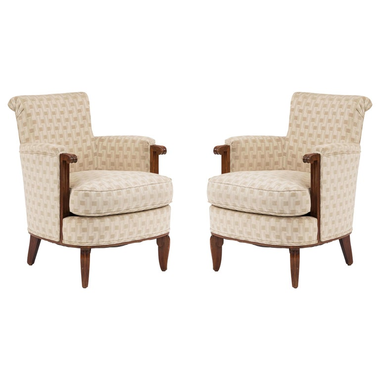 Jules Leleu French Art Deco Bergére Armchairs For Sale