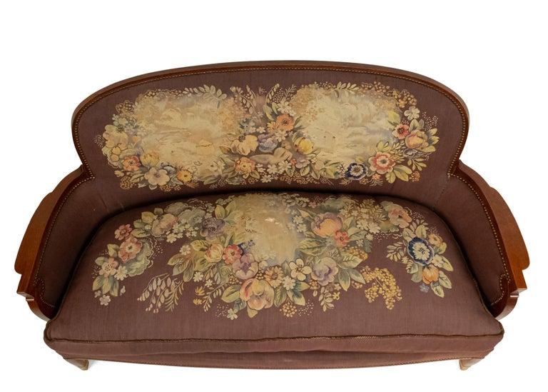 Jules Leleu French Art Deco Tapestry Loveseat For Sale 6
