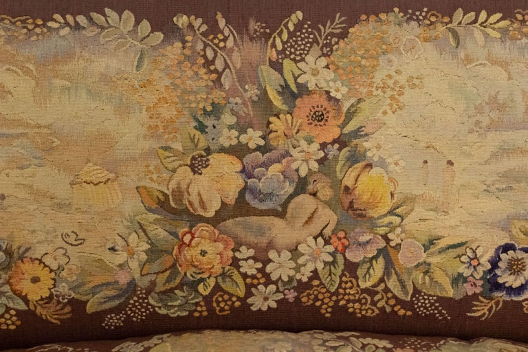 Jules Leleu French Art Deco Tapestry Loveseat For Sale 10