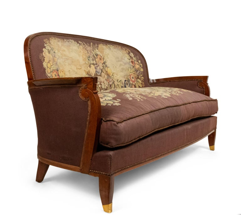 French Art Deco loveseat with tapestry upholstery (seat cushion AS IS) having a round back & scroll design arm (by Jules Leleu), circa 1940 Ref: Decorateurs Ensemble, Francoise Siriex).