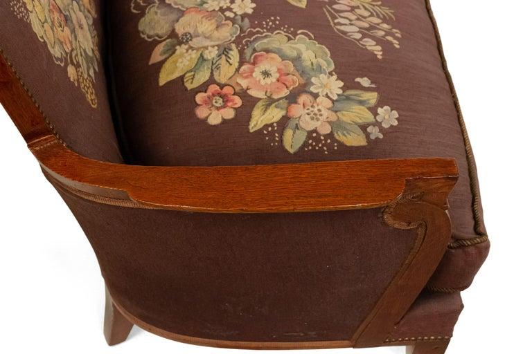 Jules Leleu French Art Deco Tapestry Loveseat For Sale 3