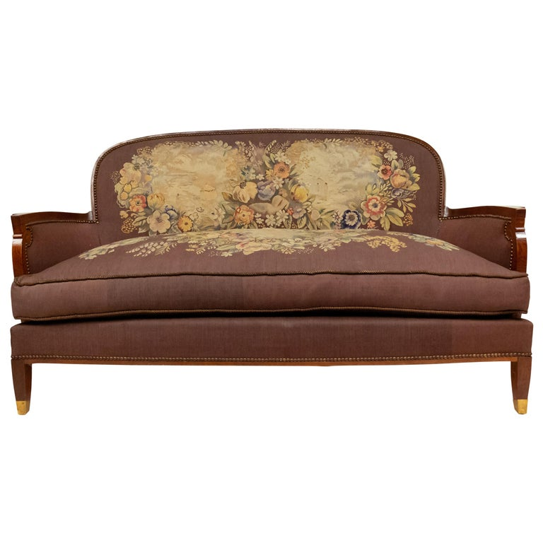 Jules Leleu French Art Deco Tapestry Loveseat For Sale