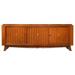 Jules Leleu, French Art Deco Walnut Parquetry Buffet Sideboard Signed