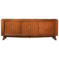 Jules Leleu French Art Deco Walnut Parquetry Buffet Sideboard Signed Jules Leleu