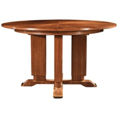 Jules Leleu, French Walnut Gueridon Extendable Dining Table, circa 1930, Signed