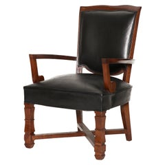 Jules Leleu, Mahogany and Leather Armchair, France, circa 1945