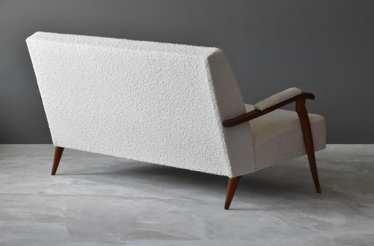 Jules Leleu, Modernist Settee, Mahogany, Brass, Bouclé, 1960s, France In Good Condition For Sale In West Palm Beach, FL