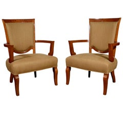 Jules Leleu, Pair of Oak Armchairs, France, circa 1948
