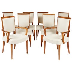 Jules Leleu Set of Six Chairs and Two Armchairs, circa 1930