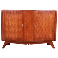 Jules Leleu Style French Art Deco Oak Parquetry Sideboard or Bar Cabinet