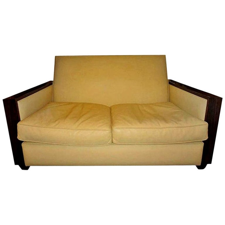 Jules Leleu Style French Art Deco Sofa Upholstered in Leather For Sale