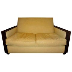 Jules Leleu Style French Art Deco Sofa Upholstered in Leather