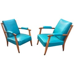 Jules Leleu, two Art Deco, Mahogany and Faux Leather Armchairs