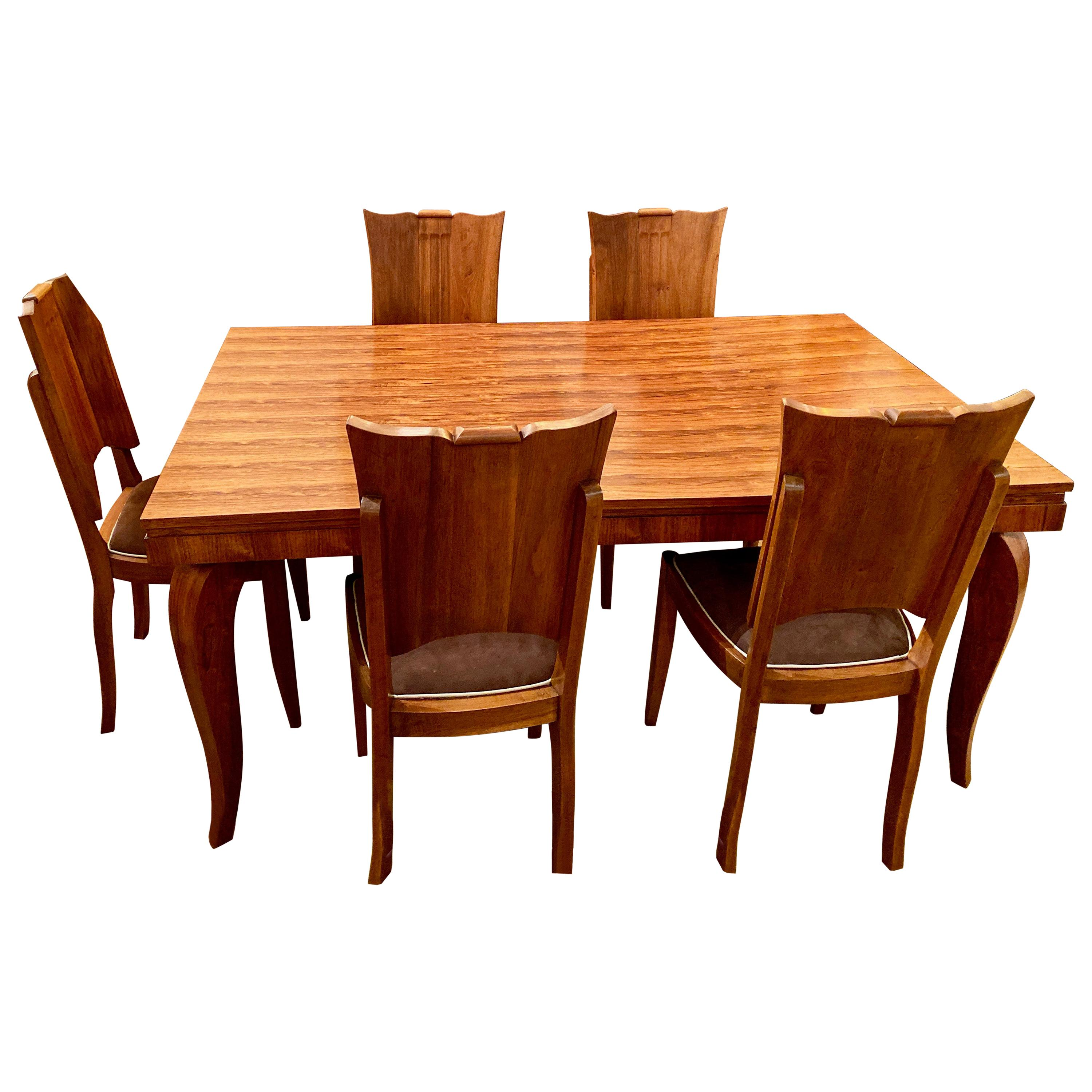English Art Deco Oak 12 Piece Dining Suite of Table, Chairs & Sideboard