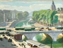 Pont Saint Michel - Paris - 19th Century Oil, River in City Landscape - Flandrin
