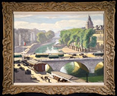 Saint Michel Bridge - Impressionist Oil, Riverscape by Jules Leon Flandrin