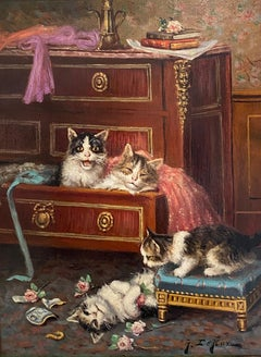 'Mischief' Colourful Victorian Interior Painting of Kittens & Cats playing