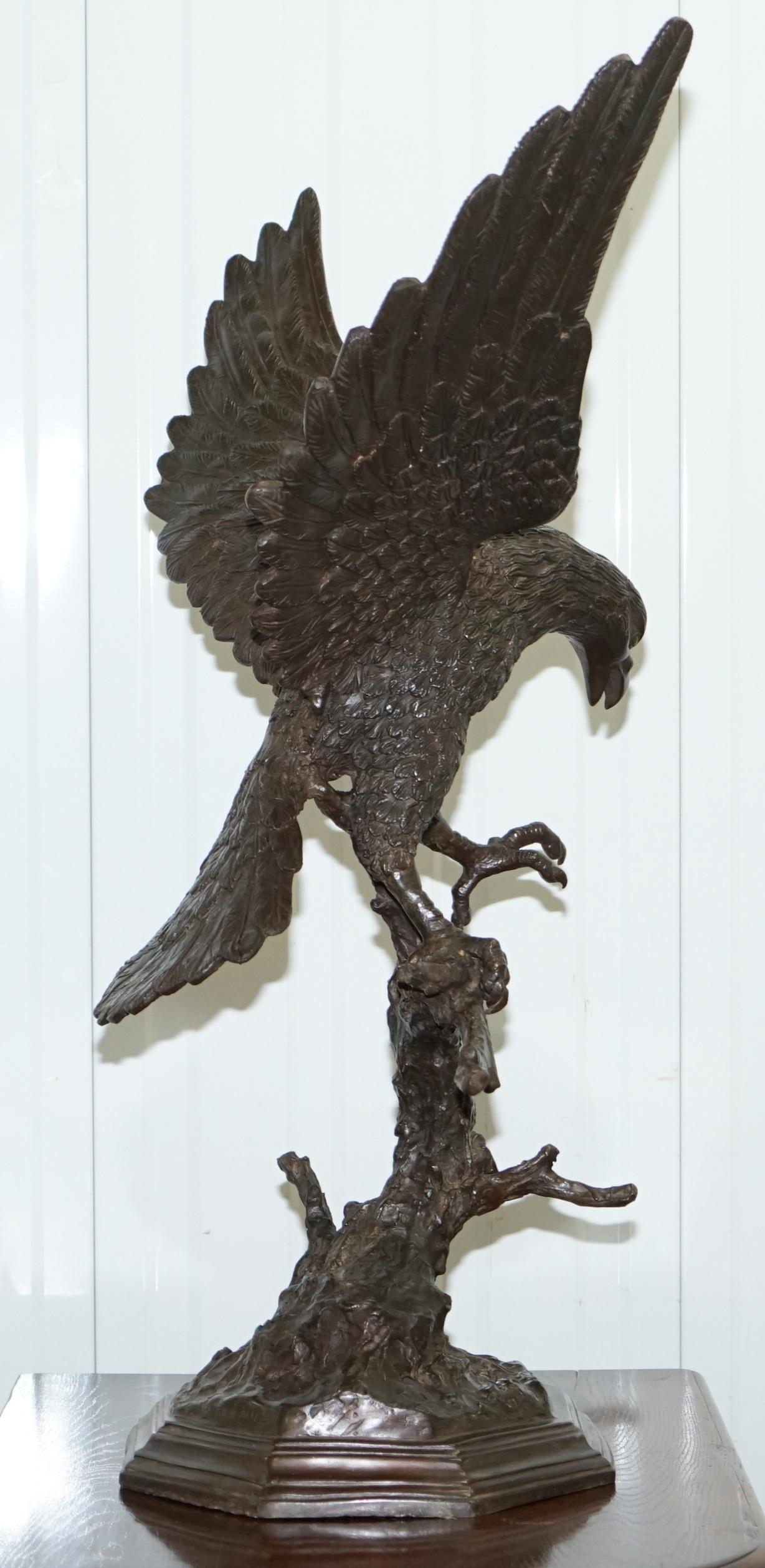 rare Old China solid bronze eagle statue