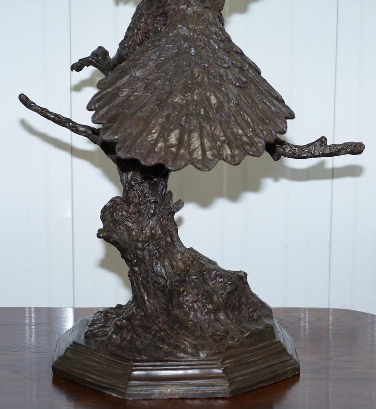 Jules Moigniez Solid Bronze 1860s Statue of Eagle France Made For Sale 13