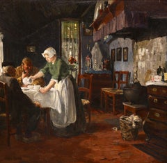 A Breton Lunch - 19th Century Oil, Figures in Interior by Jules Eugene Pages