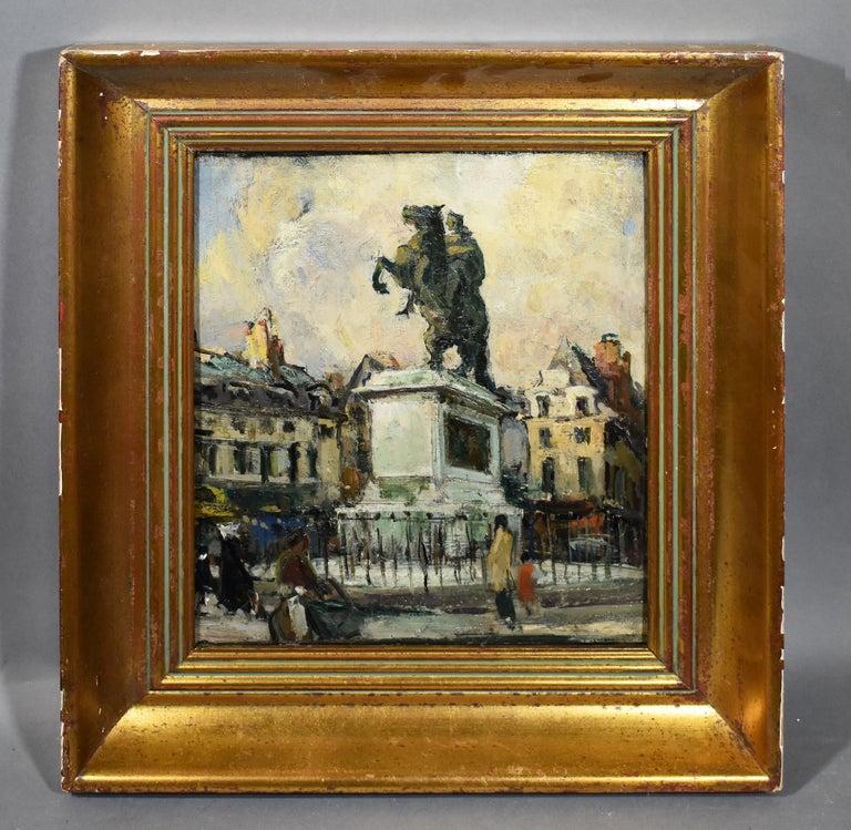 Antique Impressionist Paris Cityscape Signed Original Street Scene Oil Painting - Brown Landscape Painting by Jules Pages