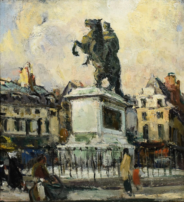 Antique American impressionist painting of a Paris by Jules Eugene Pages  (1867 - 1946).  Oil on board, circa 1915. Signed.  Displayed in an impressionist frame. Image size, 10