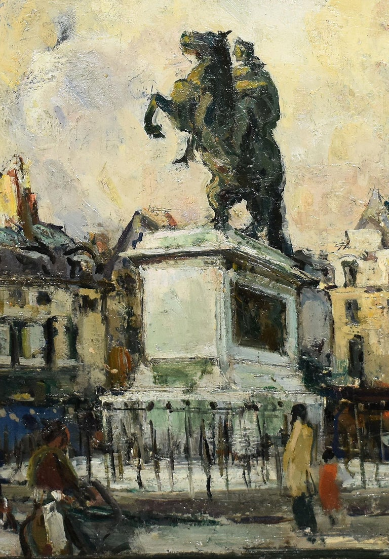 Antique Impressionist Paris Cityscape Signed Original Street Scene Oil Painting For Sale 1