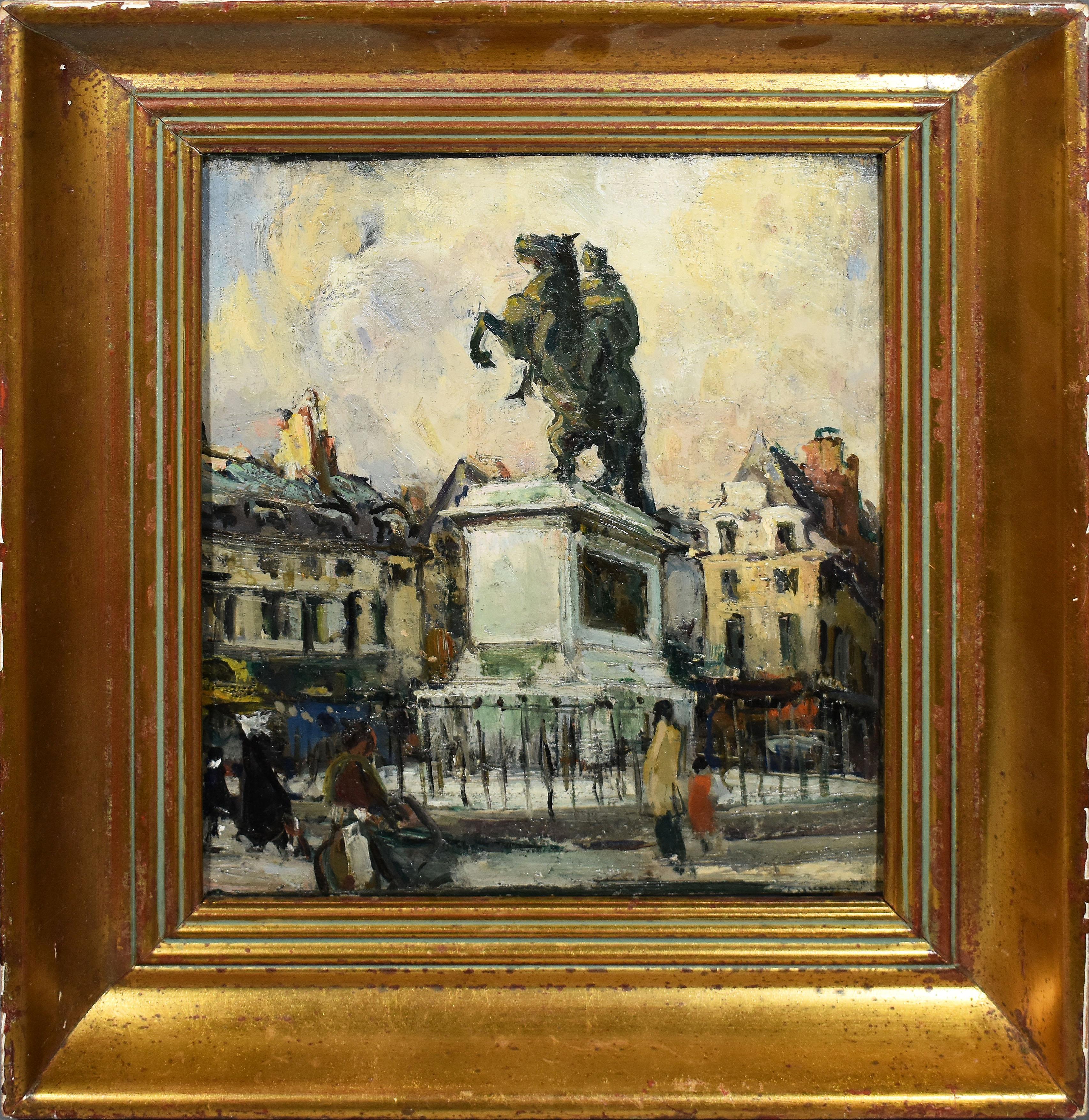 Antique Impressionist Paris Cityscape Signed Original Street Scene Oil Painting
