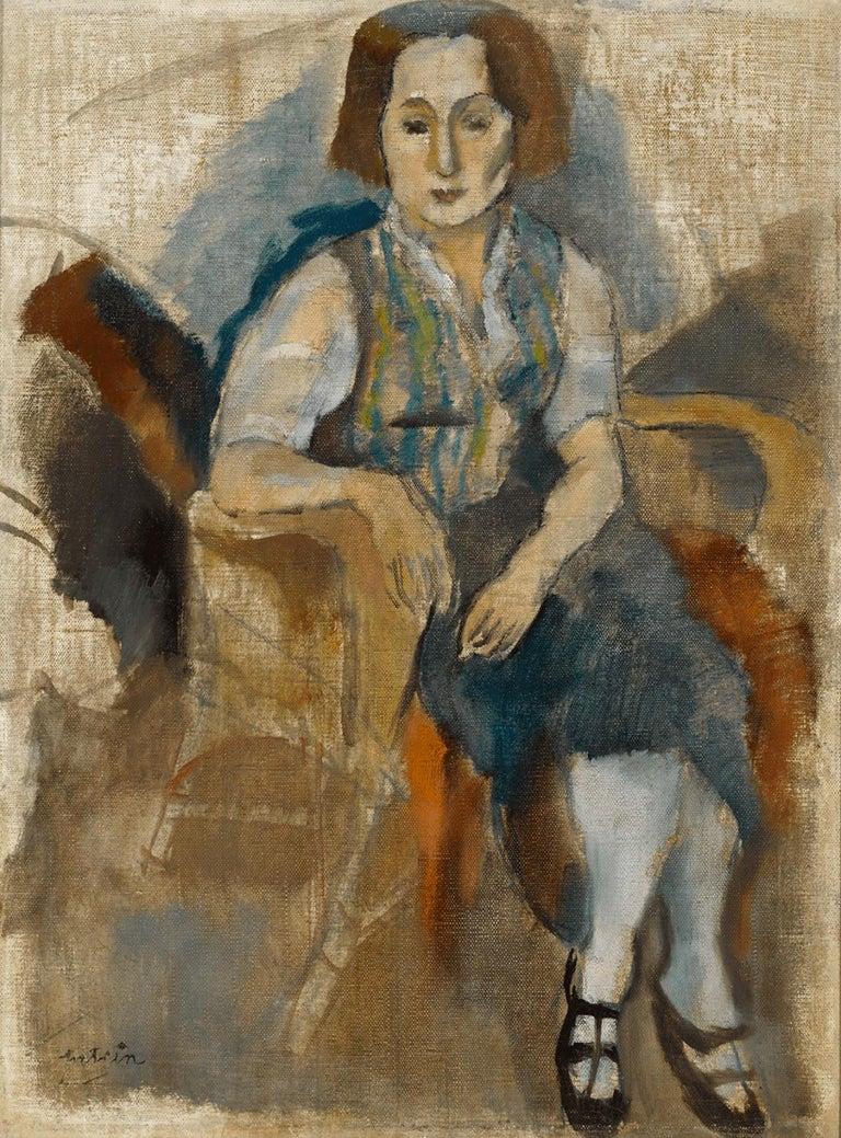 Jules Pascin Figurative Painting - Femme aux Souliers Noir (Woman in Black Shoes)