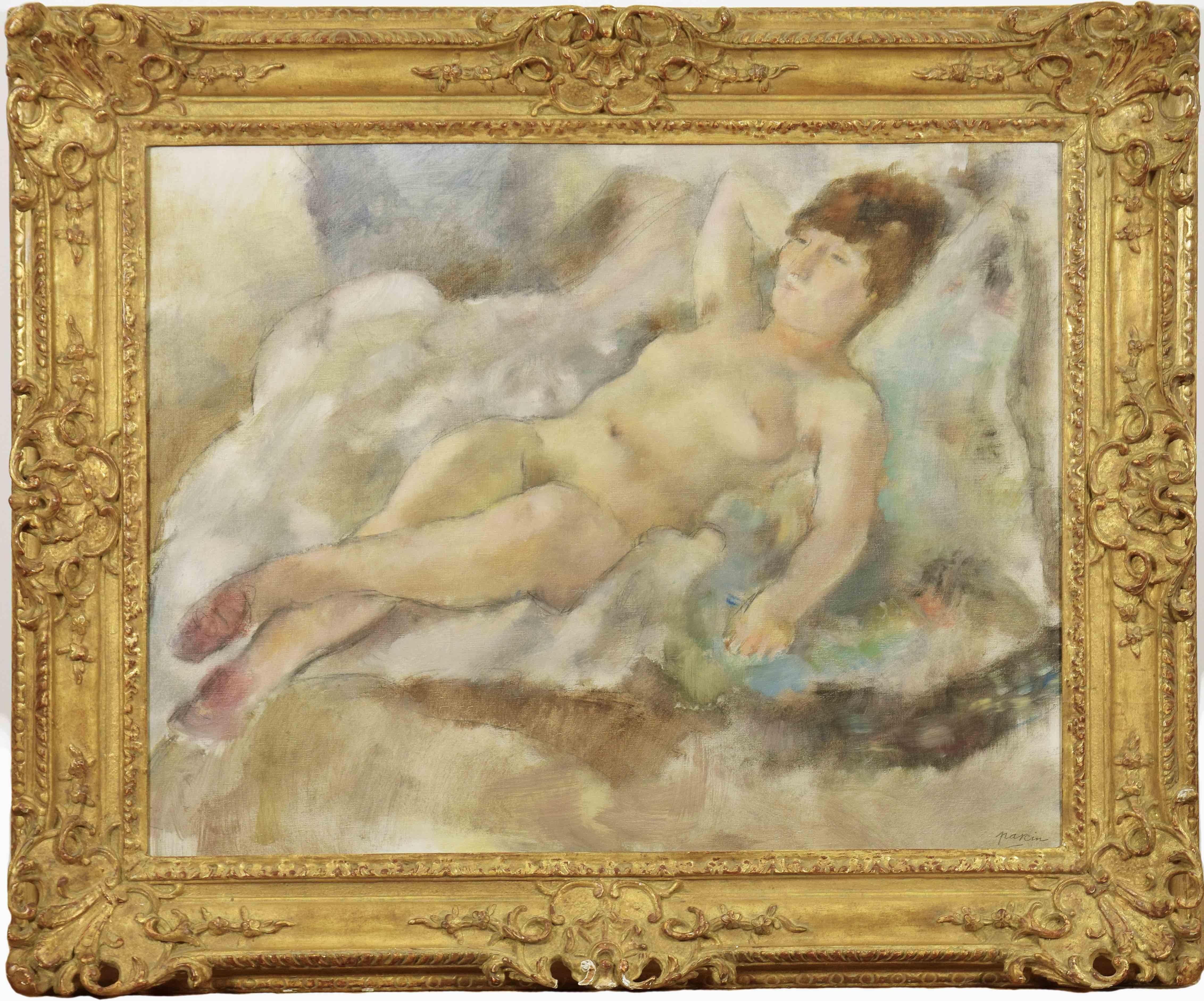 Rebecca Couchée by JULES PASCIN - School of Paris, Nude Painting, Figurative Art