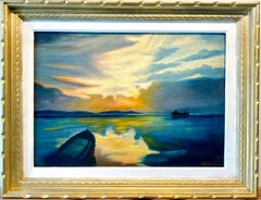 Antique French painting - Cote d'Azur Sunset - Sea Mediterranean Gaugin Ca.1920s