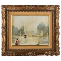 Jules René Hervé Oil on Canvas Le Bassin du Jardin des Tuileries in Paris, 1930s