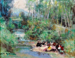 A River Scene with Figures Picnicking on the Riverbank, signed oil on canvas