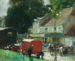 A Village Fair - Impressionist Oil, Figures in Landscape by Jules Rene Herve