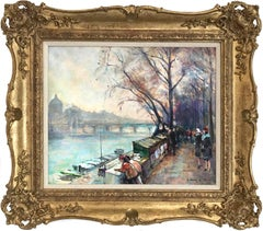 """An Afternoon Along the Seine, Paris"" Impressionist Oil Painting on Canvas"