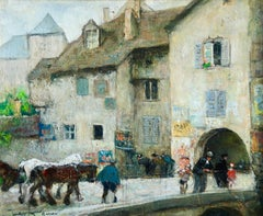 Annecy – Les vieux chevaux - Figurative Impressionist Oil by Jules Rene Herve