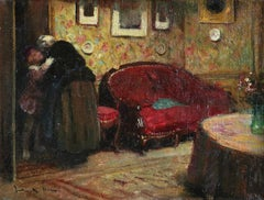Au Revoir - Impressionist Oil, Figures in Interior by Jules Rene Herve