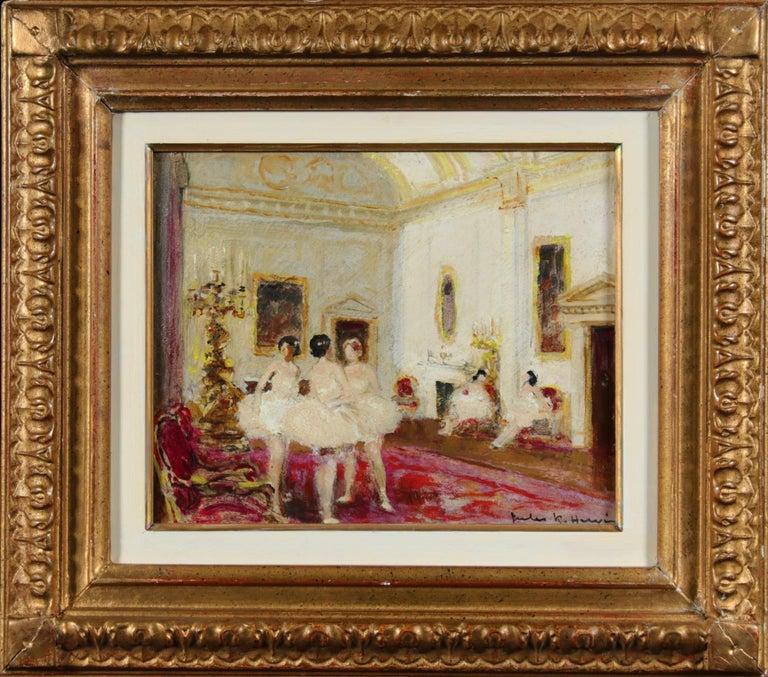 Ballet Dancers - Impressionist Oil, Figures in Interior by Jules Rene Herve - Painting by Jules René Hervé
