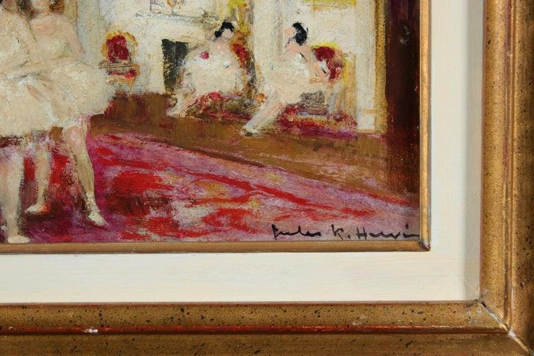 Ballet Dancers - Impressionist Oil, Figures in Interior by Jules Rene Herve - Brown Interior Painting by Jules René Hervé