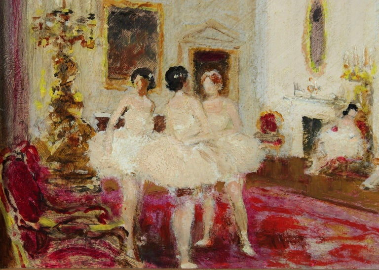 A beautiful oil on board by popular French impressionist painter Jules Rene Herve depicting ballerinas in white tutus standing in a grand interior.   Signature: Signed lower right and further signed verso.   Dimensions: Framed: 17