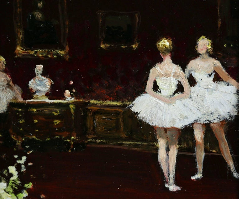 A beautiful oil on board by popular French impressionist painter Jules Rene Herve depicting ballerinas in white tutus standing in a grand interior.   Signature: Signed lower right and further signed & dated December 1961 verso.   Dimensions: Framed: