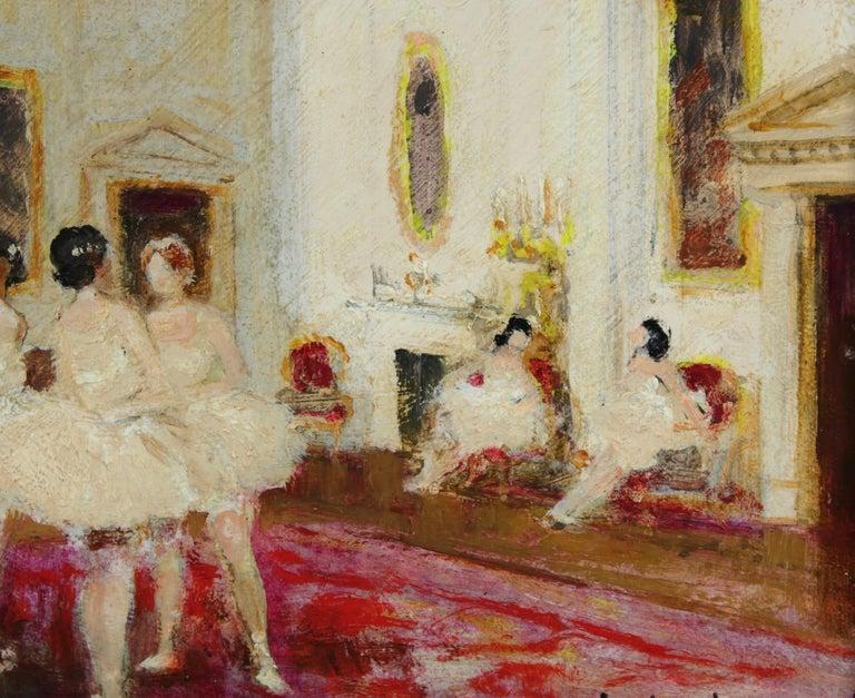 Ballet Dancers - Impressionist Oil, Figures in Interior by Jules Rene Herve 1