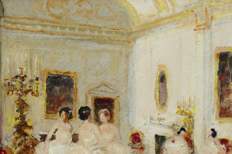 Ballet Dancers - Impressionist Oil, Figures in Interior by Jules Rene Herve 2