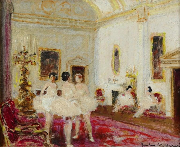 Jules René Hervé Interior Painting - Ballet Dancers - Impressionist Oil, Figures in Interior by Jules Rene Herve